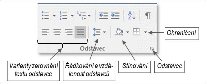 Skupina nástrojů Odstavec z karty Domů.